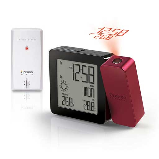 Oregon Scientific BAR368PA-R PROJI Projection Clock with Indoor/Outdoor Temperature and Weather - Red