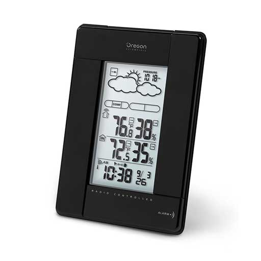Oregon Scientific BAR388HGA-BK Wireless Weather Station and Atomic Clock - Black