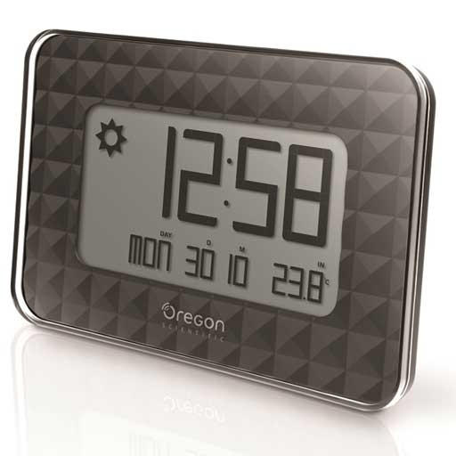 Oregon Scientific JW208-BK GLAZE Digital Wall Clock - Black