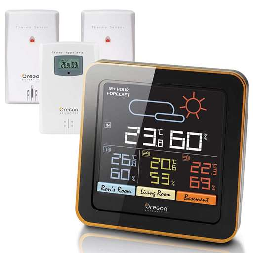 Oregon Scientific RAR502S / RAR502SA Multi-Zone Home Climate Control Wireless Weather Station - Color LCD Display