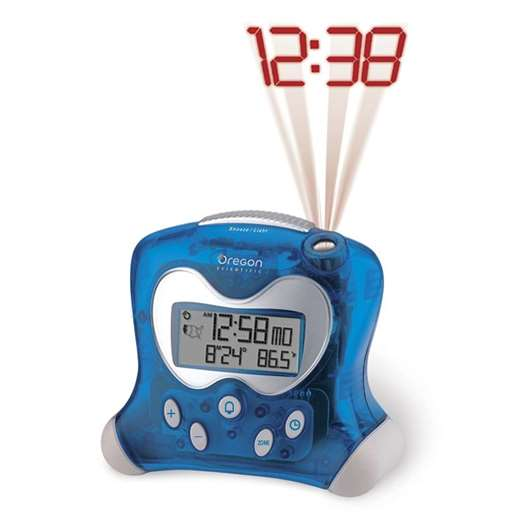 Oregon Scientific RM313PNA Blue Projection Atomic Alarm Clock with Indoor Temperature