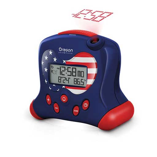 Oregon Scientific RM313PNFA-STS Hip & Cool Atomic Projection Clock with Indoor Temperature - Stars and Stripes