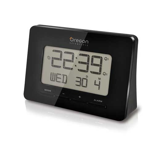 Oregon Scientific RM938-BK Atomic Digital Alarm Clock with Dual Alarm - Black