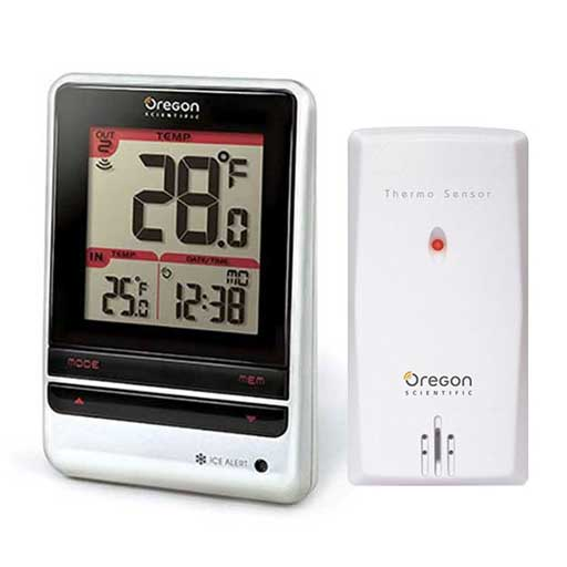 Oregon Scientific RMR202A Indoor and Outdoor Thermometer with Atomic Time - Weather 200