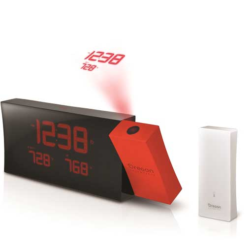 Oregon Scientific RMR221PN-R PRYSMA Atomic Projection Clock with Outdoor Temperature - Red
