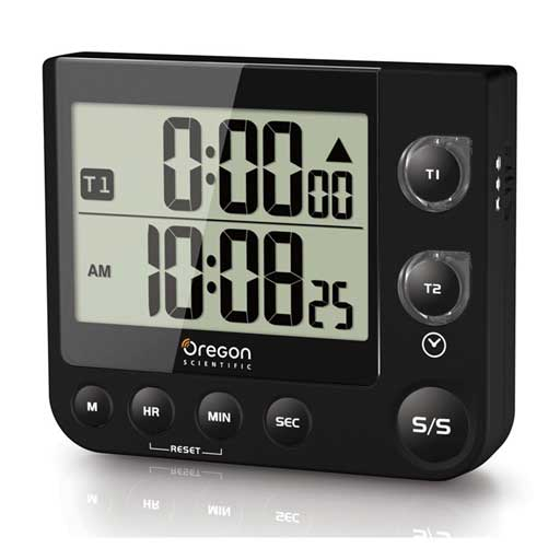 Oregon Scientific TW331-BK Dual Kitchen Timer with Clock & LED Alert - Black
